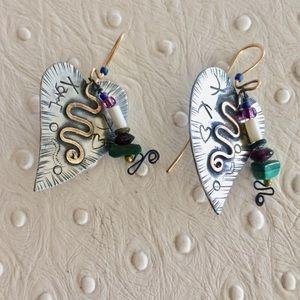 Jewelry - Mixed Metal Heart Earrings
